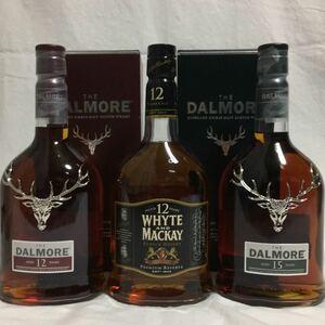 ハイランド ウイスキー ホワイト&マッカイ12年(終売品)&ダルモア12年&ダルモア15年 3本セット