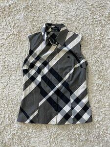 美品 BURBERRY LONDON バーバリーロンドン シャツ ブラウス ノースリーブシャツ チェック ホース刺繍