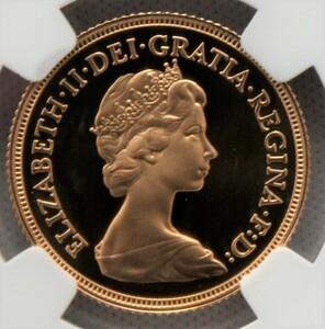 1980年 イギリス エリザベス2世 1ソブリン 金貨 NGC PF70UC 最高鑑定品!!