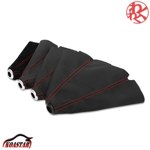 shift cover shift boots carbon style gearshift black black red stitch