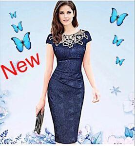 花柄刺繍ワンピースドレス 新品 ネイビーワンピース エレガントワンピースドレス キャバ嬢ドレス タイトワンピース  パーティドレス