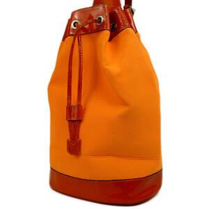 グッチ バンブー ハンドル ナイロンキャンバス×レザー 巾着式 2WAY 斜め掛け ショルダー ハンド バッグ イタリア製 オレンジ 20455bkac