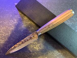 ゼブラウッドハンドルのダマスカスペティナイフ、キャンプ用包丁、果物ナイフ