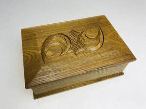 昭和レトロ 木製 木彫 小物入れ 宝箱 蓋付 (TA)