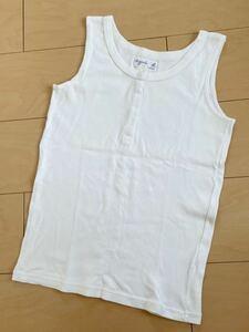 【美品】 agnes b. アニエスべー ノースリーブシャツ タンクトップ 2号 レディース Mサイズ相当 ホワイト 無地 スナップボタン