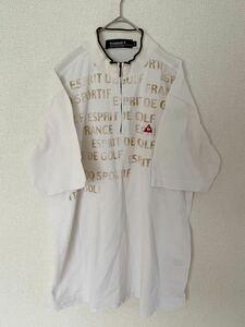 le coq sportif GOLF COLLECTION ルコックゴルフ 半袖ゴルフシャツ ジップシャツ メンズ Lサイズ 刺繍ロゴ デサント ホワイト