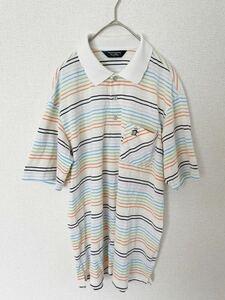 Munsingwear マンシングウェア 半袖ポロシャツ マルチカラー 刺繍 ペンギン メンズ Lサイズ ドライ素材 デサント 日本製