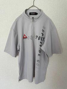 le coq sportif GOLF COLLECTION ルコックゴルフ ハーフジップ 半袖 ゴルフシャツ メンズ Mサイズ ドライ素材 デサント グレー