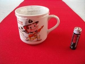 不二家 ペコちゃん FUJIYA プリン カップ Let's Challenge with Peko 消防士さん 08,01 レトロ ビンテージ アンティーク マグカップ