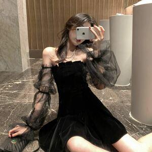 ゴシック ベロア ミニドレス シースルー セクシーコスプレ 衣装 L