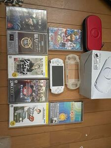 PSP-3000 PSP本体 ソフト SONY ホワイト 充電器&メモリーカード欠品
