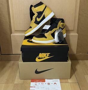 即決 定価以下出品 正規品 SNKRS 限定 アクセス 27cm Nike Air Jordan 1 Retro High OG Pollen ナイキ エアジョーダン 1 US9 黒タグ付き