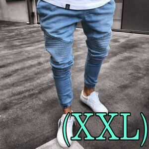 メンズ ジョガーパンツ スキニー デニムインディゴ 韓国 オルチャンXXLサイズ