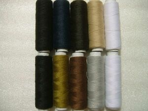 即決 ミシン糸・手縫い糸両用 100m×10個  8色 #60 ポリエステル100% 綿、合成繊維他、あらゆる素材の布地に使用可能