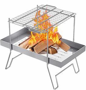 焚き火台 バーベキューコンロ 新品 未使用 焚火台 折りたたみ式 ステンレス製 1台多役 コンパクト 超軽量