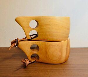 木製 マグカップ 北欧 カップ コップ アウトドア 登山 ククサ 2個セット