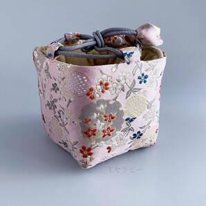 茶道具収納 小物収納袋 茶器用絹袋(角底)仕覆 しふく(ピンク 小花)