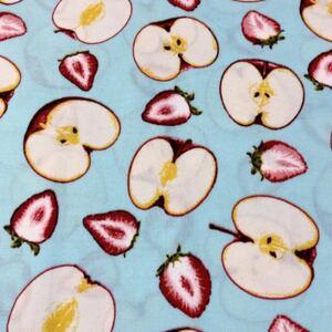 りんご アップル 水色 オックス 110×50 生地 はぎれ