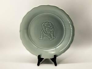 【青磁大皿】 相撲図 アンティーク品  L0625J