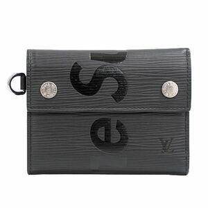 本物 ルイヴィトン × シュプリーム LOUIS VUITTON × Supreme LV チェーンウォレット エピ レザー 折財布 ノワール ブラック M67711