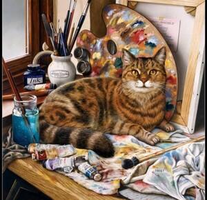 クロスステッチキット 芸術家の猫 14CT 33×33cm 刺繍