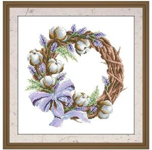 クロスステッチキット ラベンダーコットンリボンリース 18CT 刺繍 クリスマス