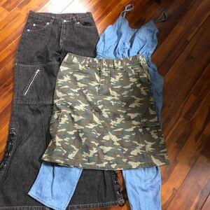 オールインワンサロペット140cm&デニムパンツ150cm &150迷彩スカート&迷彩柄ズボン140cmセット