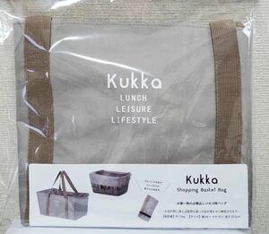 新品 Kukka レジカゴ エコバッグ ショッピングバッグ 折りたたみ 便利 トートバッグ ライトブラウン ベージュ