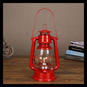 オイルランタン オイルランプ ビンテージ 灯油ランタン 真鍮 アンティーク ハリケーンランプ 赤 キャンプ道具