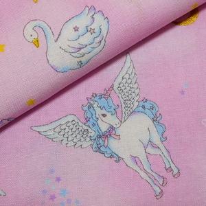 【即決】幅108×50cm◇布 生地 ペガサス スワン ユニコーン 白鳥 星座 ゆめかわ 綿 ピンク