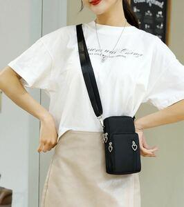 新品 多機能 ミニショルダーバッグ スマホポーチ 韓国 黒 鞄 ミニバッグ 斜め掛け ボディバッグ ボディバッグ ミニ