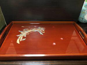高級手作り 木製漆器 お盆 トレートレイ 長手盆 食器 和風 昭和 レトロ 持ち手付き 漆芸 工芸品