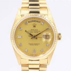 【ロレックス】 腕時計 デイデイト 18038A シャンパン 10ポイントダイヤ メンズ 89番台 自動巻き 中古品