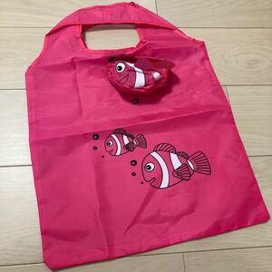 【未使用】ビビットピンク エコバッグ お魚デザイン おりたたみ コンパクトショッピングバッグ レジバッグ マゼンダピンク