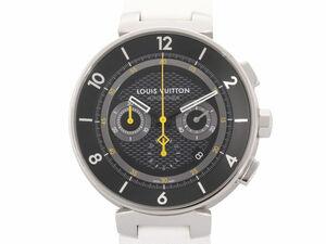[3年保証] ルイヴィトン タンブール ムーン クロノグラフ ステンレス ラバーベルト 黒文字盤 Q8D40 自動巻き 腕時計 腕時計 中古 送料無料