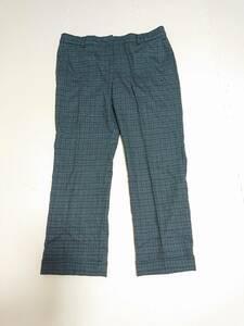 Max Mara マックスマーラ パンツ 裾ダブル仕立て スラックス チェック柄 グリーン グレー系 メンズ ボトムス SIZE:44