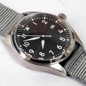 40ミリメートル 滅菌ブラックダイヤル カレンダー ステンレス鋼 NH35A 発光 ナイロンバンド 自動機械式腕時計  サファイア