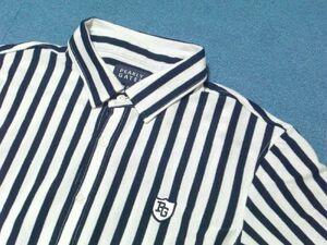 中古 美品★パーリーゲイツ PEARLY GATES ストライプ サイズ6 コットン50% ポリエステル50% 半袖シャツ