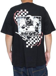 【新品】 4L ブラック 必殺仕事人V 半袖 Tシャツ メンズ 大きいサイズ パチンコ ロゴ バック プリント クルーネック カットソー