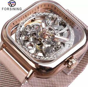 ☆ ◆ メンズ高級腕時計 41mm 機械式 自動巻き スケルトンデザイン スクエア 希少 紳士ウォッチ 夜光 防水 カジュアル ピンク 1301