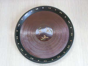 レトロ 丸盆 径約38.5cm お盆 木製 漆器 貝細工 漆芸