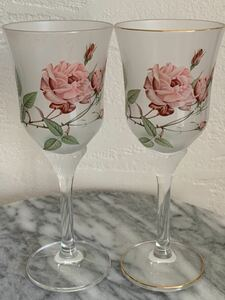 ワイングラス 花柄 ペア 薔薇
