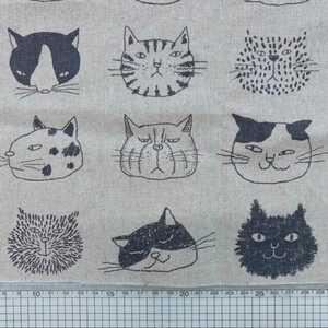 新品 50×108 ハンドメイド 生地 レトロ おもしろ顔猫柄 ベージュP
