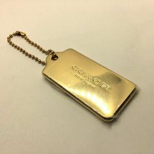COACH コーチ ゴールドプレート ボールチェーン キーホルダー バッグチャーム ドッグタグ 新品 金属製