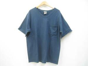 USA製 GOODWEAR グッドウェア ベビーウエイト Vネック ポケT 半袖 Tシャツ ネイビー 紺 サイズL