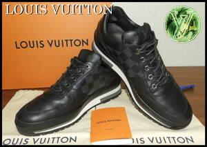 完売 LOUIS VUITTON ダミエ レザー スニーカー ルイヴィトン 黒 8 ブラック メンズ 靴 ブーツ シューズ LV 中古 モノグラム 国内正規品