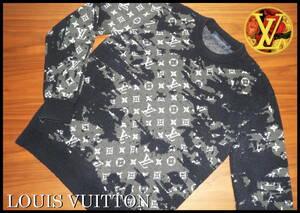 国内正規品 LOUIS VUITTON ディストレスト モノグラム ニット セーター ウール S ルイヴィトン ネイビー ブラック 完売品 ジャケット LV