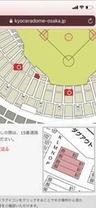 9/1(水)巨人vsヤクルト 3塁側下段指定席ベンチサイドシート 京セラドーム