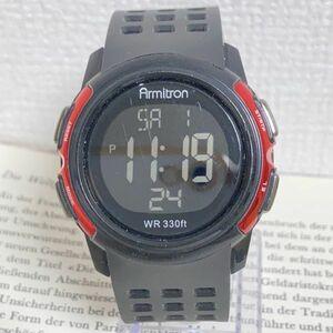 ★ ARMITRON デジタル 多機能 メンズ 腕時計 ★ アーミトロン アラーム クロノ ブラック 稼動品 F5211
