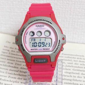 ★CASIO ILLUMINATOR デジタル 多機能 腕時計 ★カシオ イルミネーター LW-202H アラーム クロノ ピンク 稼動品 F5213